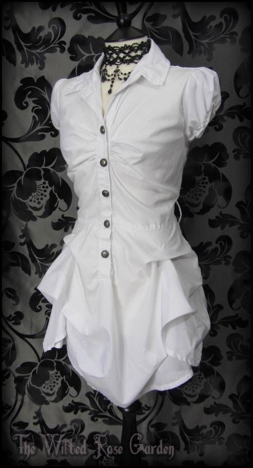 Romantic Victorian White Hitched Bustle Puffball Dress 10 Steampunk Vintage Goth   THE WILTED ROSE GARDEN