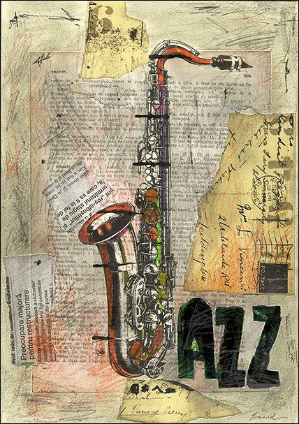 Print art canvas best gift poster wall decor Illustration saxophone drawing jazz music mixed media collage signed autographed M E Ologeanu