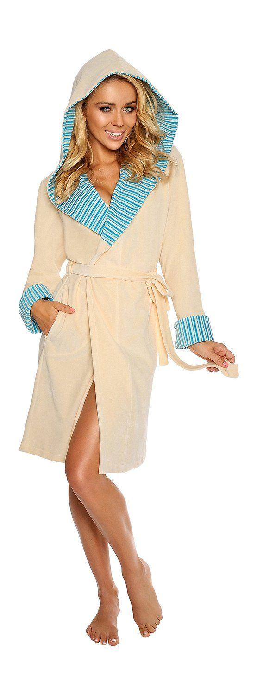 Peignoir/robe de chambre en coton doux avec ceinture et capuche Femme Mi-long: Amazon.fr: Vêtements et accessoires