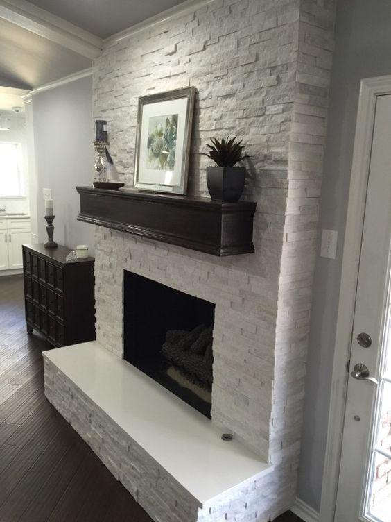 Fireplace makeover crystal white quartzite 6x24 interlocking ledger panel living room and - Great home interior and exterior decoration with white stone fireplace ...