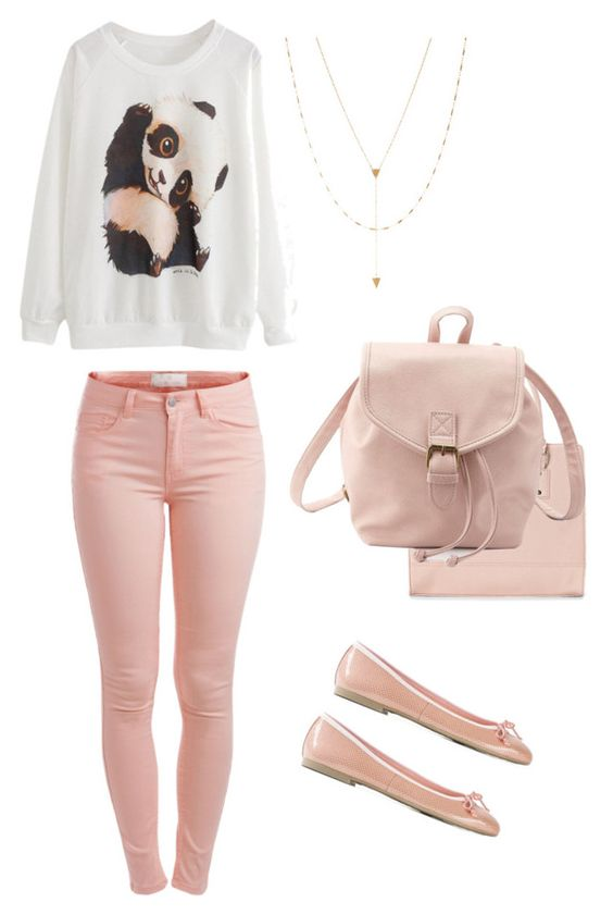 """""""Cute panda outfit"""" by sofiacarmenx ❤ liked on Polyvore featuring Pieces, Nine West, Charlotte Russe, Jennifer Zeuner and Pretty Ballerinas"""