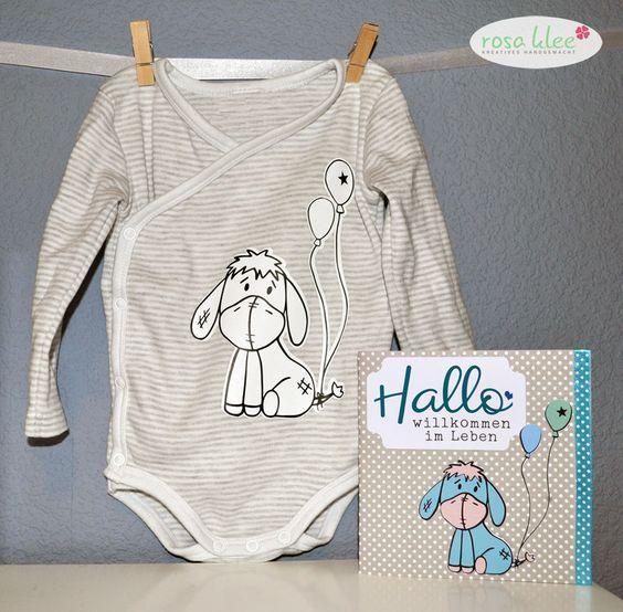 Esel Elmar auf einem Babybody aus Flexfolie und aus Papier für eine Glückwunschkarte  Plotten Plotter Silhouette Cameo Portrait
