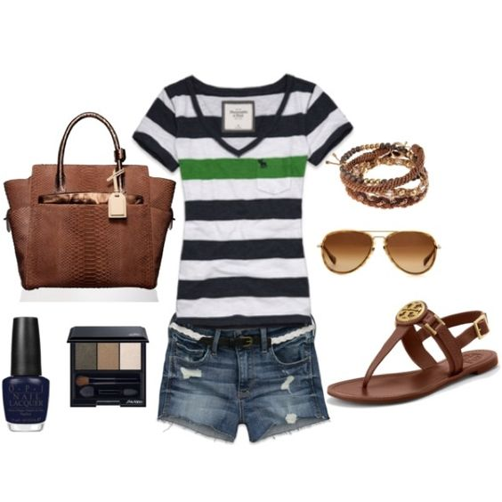 Blue&White&Green. ♥ stripes!