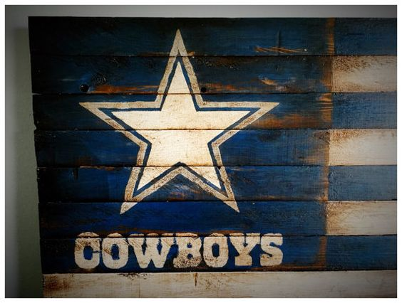 Dallas Cowboys Flag Dallas Cowboys Wood Flag by woodencrossshop