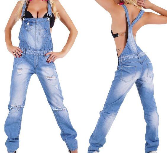 NEU Damen Latzhose Jeans Risse Relaxed Boyfriend 34 36 38 40 42 Latzjeans XS-XL http://www.fashion-darling.de