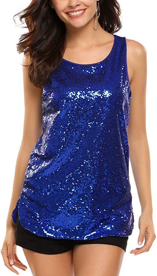 Frauen Pailletten Sparkle Glitter Shirt Kurzarm Tank Top Party T-Shirt Bluse DE
