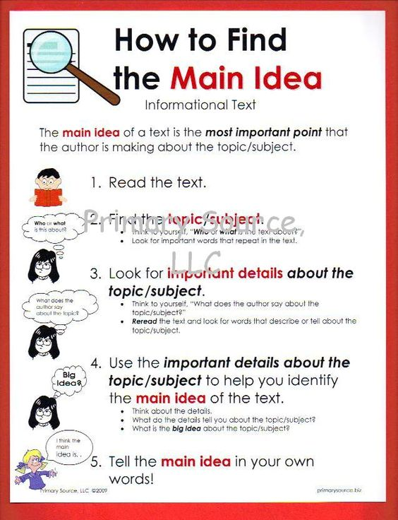 How To Find The Main Idea Informational Text Primary