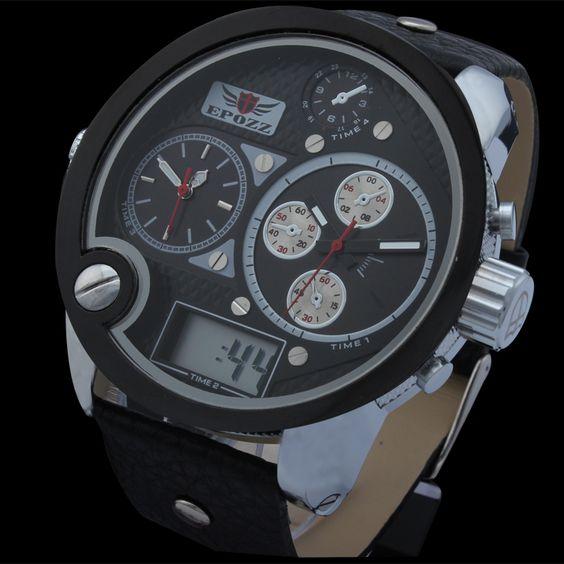 Relogio masculino do vestido quartzo 2014 men's sports watches quartz analog digital military watches PU leather wristwatches $49.97