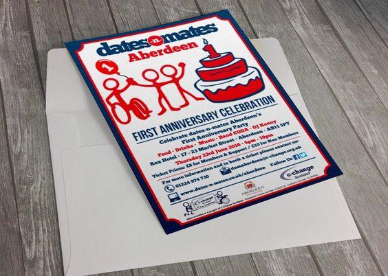 DATES-N-MATES ABERDEEN - Flyer invitation design for dates-n-mates Aberdeen's First Anniversary Celebration Party up in Aberdeen, Scotland.