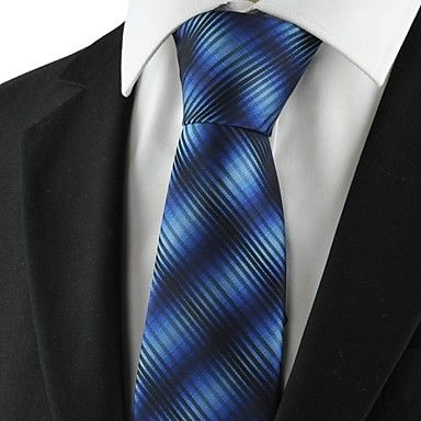 New Striped Gradual Blue Mens Tie Formal Suits Necktie for Wedding Gift  – USD $ 6.59
