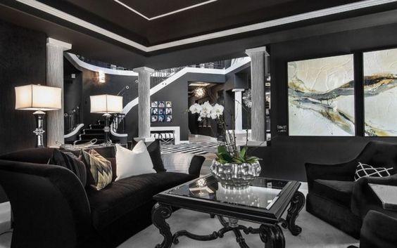 salon de style art déco, table basse en bois noir, peinture gris - peinture bois et fer