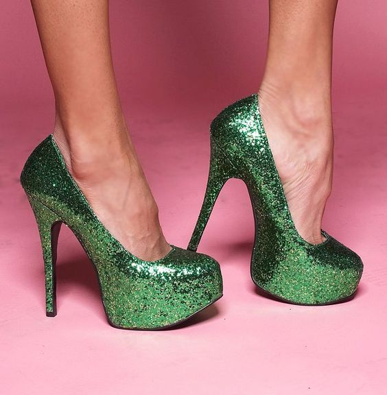 Sparkly green Bordello heels