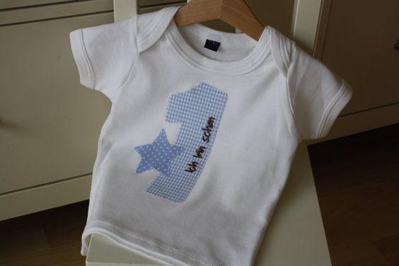 T-Shirts - Baby T-Shirt mit Jahreszahl 1 und Teddystern - ein Designerstück von STRUKTURWERK bei DaWanda