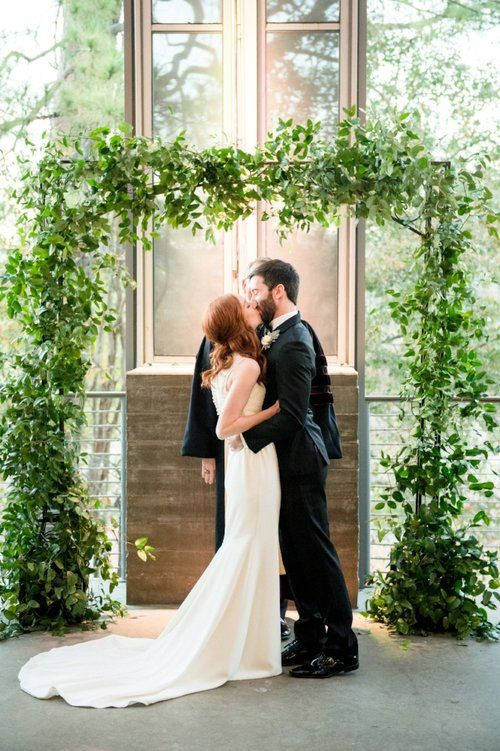 Ceremony At The Dunlavy Houston Greenery Arch Wedding Venue Houston Houston Wedding Photographer Texas Wedding Planner