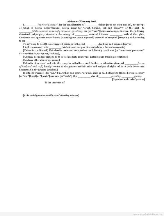 Sample Printable General Warranty Deed Form  Latest Sample Real