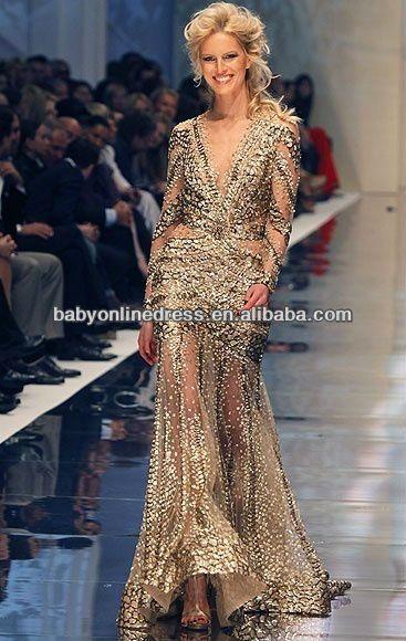 Long Sleeve Sequin Evening Dresses | Gold Sequin Tulle Long Sleeve Prom Dress Zuhair Murad Evening Dresses ...