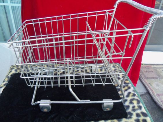 Vintage Chrome Metal Collectible Shopping Cart by MartiniMermaid, $28.50