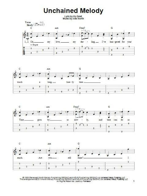 No Title Unchained Melody Guitar Tabs Songs Fingerstyle Guitar