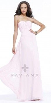 Simple Ruched Strapless Evening Dresses by Faviana-image