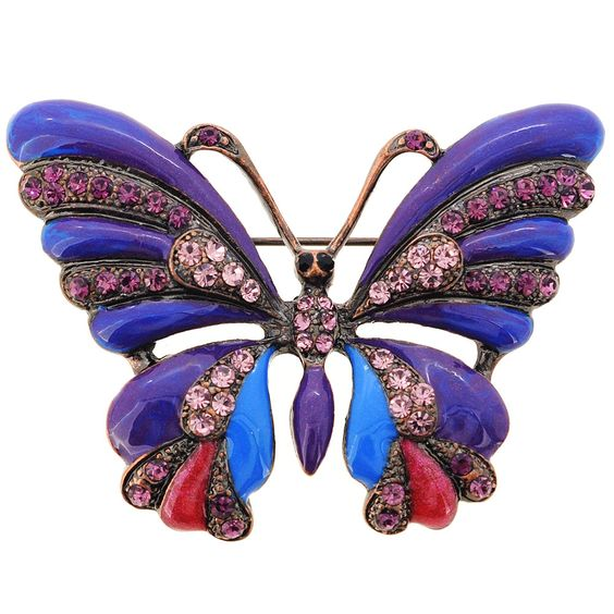 Purple Butterfly Crystal Pin Brooch - Fantasyard Costume Jewelry & Accessories