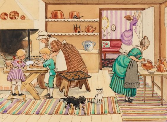 Elsa Beskow Preparing for Christmas~ lovely drawing and also fun glimpse interior: