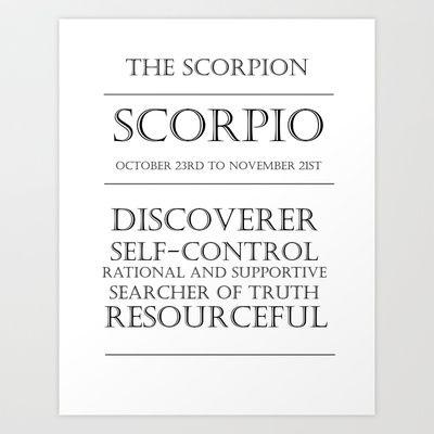 #Scorpio Zodiac Art Art Print by Adriyanna K. Zimmermann - $14.56