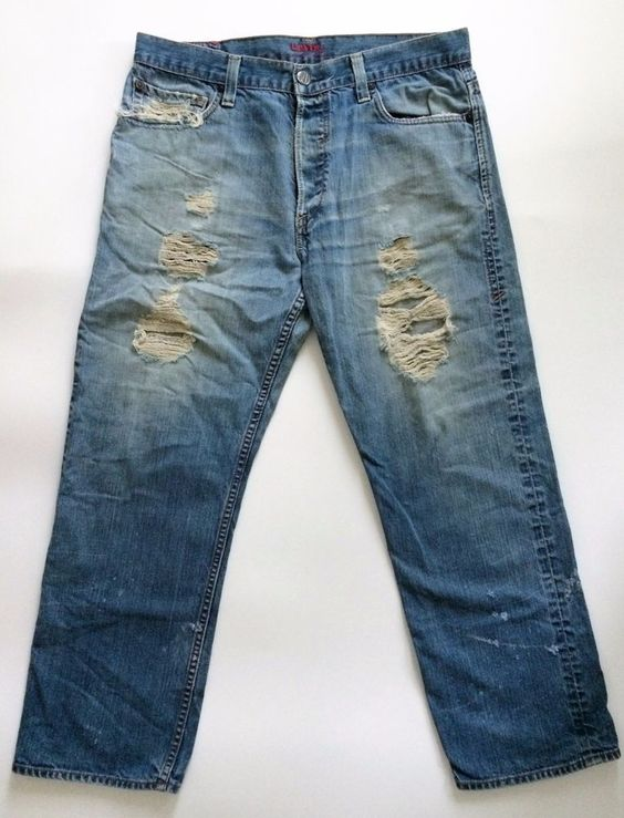 Levis Red Mens Jeans 36x29 Button Fly Vintage Straight Destroyed Redline Selvage #Levis #ClassicStraightLeg