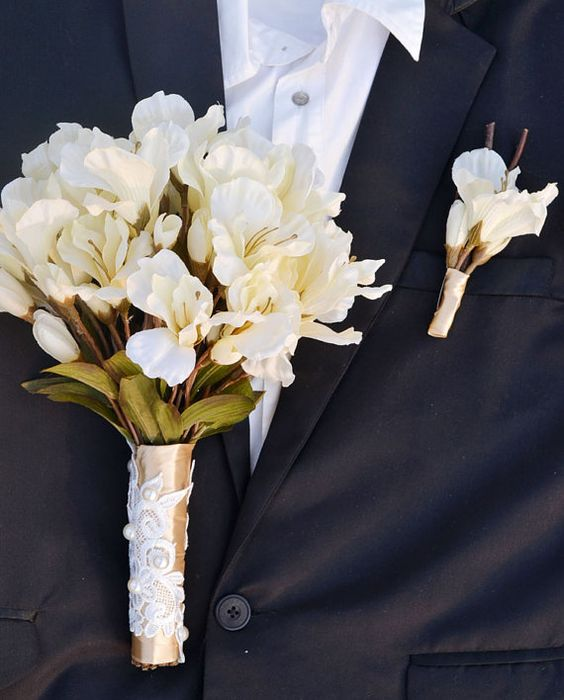wedding bouquet artificial silk flower white lily by Wendyslife, $56.00