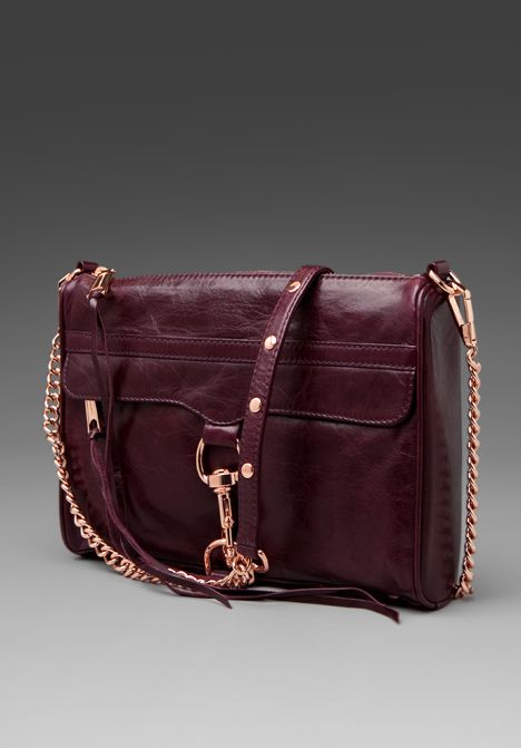 Rebecca Minkoff MAC in Plum with Rose Gold hardware