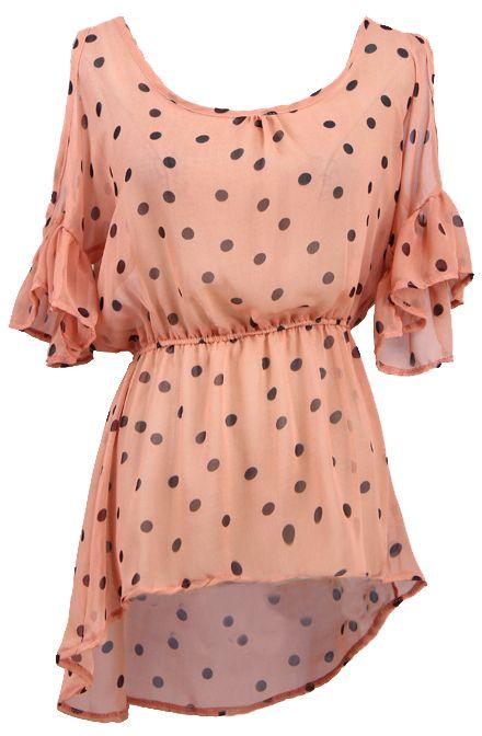 Pink Ruffles Short Sleeve Polka Dot Chiffon Blouse