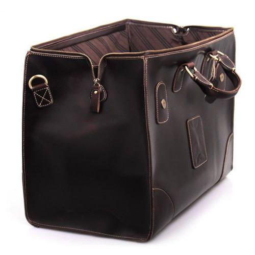 Vintage Handmade Leather Travel Bag / Luggage / Duffle Bag ...
