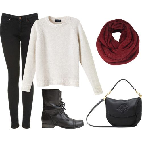 white sweater with black pants, a red scarf, black combat boots ...