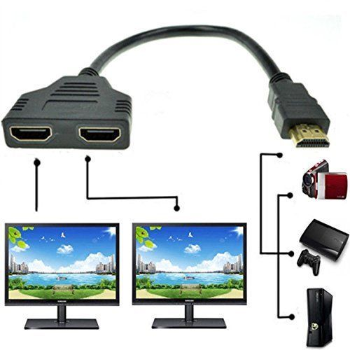 1 2 Way Splitter Cable Adapter Converter 1080p Hdmi Male To Dual Hdmi Female Hdmi Splitter Hdmi Splitters