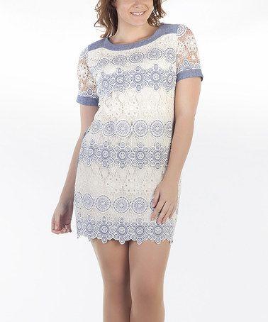 Another great find on #zulily! Indigo & White Lace Shift Dress - Women & Plus #zulilyfinds