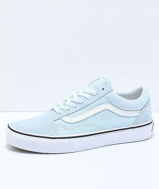 Vans Old Skool Baby Blue & True White Shoes #shoe #shoes