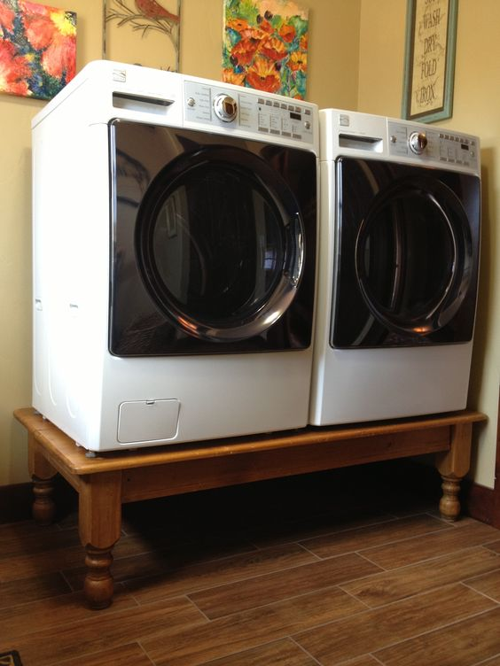 Washer dryer on a coffee table diy pedestal much for Pedestal table diy