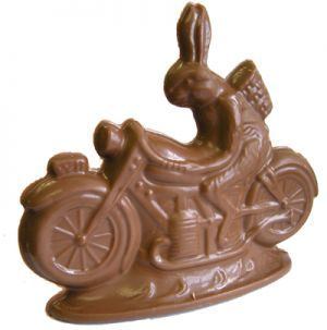 """Large chocolate motorcycle bunny Our Motorcycle Riding Easter Bunny is hand poured using the finest milk chocolate 9.25 oz  A great gift for the motorcycle enthusiast  Add to your Easter Basket -- wrapped in cellophane and tied with colorful ribbon  Available year round - Handmade fresh daily  This item is 6"""" x 5.5"""" and is 3d. It weighs 9.25 onces. Comes wrapped in a cellophane bag with festive curling ribbon. #Easter #Bunny #motorcycle #chocolate $15.00"""