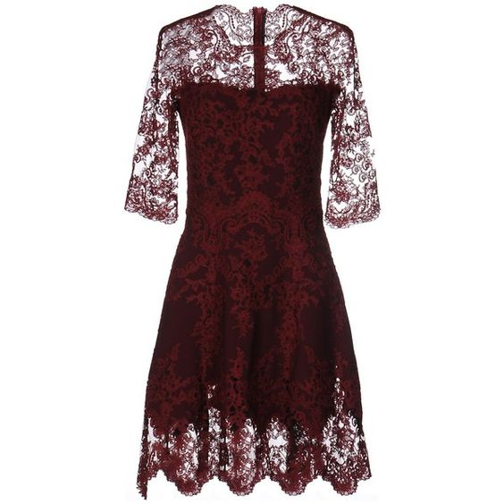 Ermanno Scervino Short Dress ($1,070) ❤ liked on Polyvore featuring dresses, brick red, embroidered dresses, flare dress, embroidery dress, 3/4 sleeve dress and short flared dresses