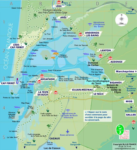 CARTE et PLANS du Bassin d'Arcachon, annuaire d'entreprises