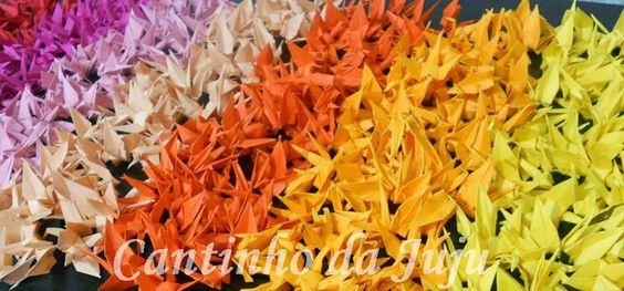 Cantinho da Juju!: Tsurus coloridos www.cantinhodajuju.com.br