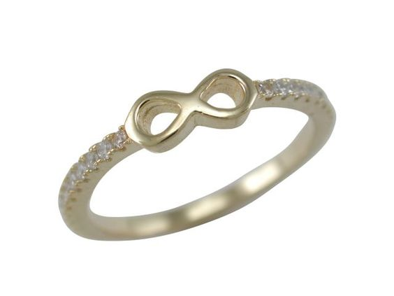 Sterling Silver Gold Plated 4mm White Cubic Zirconia Infinity Ring