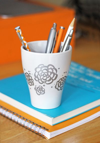metallic oil-based sharpies + ceramic mug = lovely pen holder!