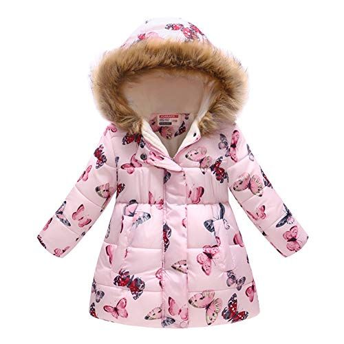 Kids Boys Girls Long Fur Hooded Down Puffer Jacket Padded Warm Thick Coat Parkas