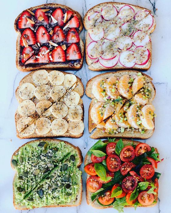 "thrivingonplants: "" Toast party! ✨ ✖️Coco2 spread (from my @goodnessmebox), strawberries , cacao nibs, almonds ✖️Hummus, radish, mayo + whole grain mustard, herbs ✖️PB, banana, cinnamon, chia...:"
