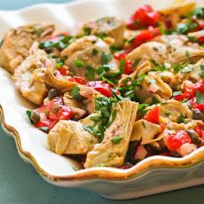 Warm or Cold Salad with Artichoke Hearts, Roasted Red Pepper, Capers, and Basil Dressing