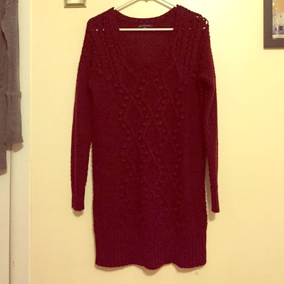 AMERICAN EAGLE BURGUNDY SWEATER DRESS Work once! Got for Christmas! American Eagle Outfitters Dresses Long Sleeve