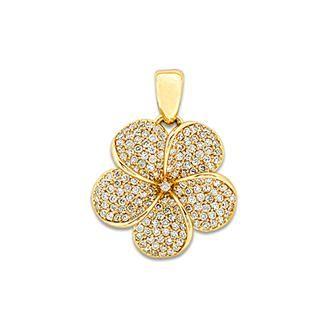Plumeria Pendant with Diamonds in 14K Yellow Gold - 19mm