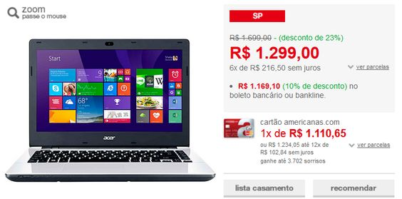 "Notebook Acer E5-471-30DG Intel Core i3 - 5005U 4GB 1TB Tela LED 14"" Windows 8.1 << 116910 >>"