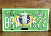"""Sp-cp-288 bateau libre nombre de voitures """" BRA-1822 brésil """" plaques d'immatriculation plaque Vintage métal inscrivez tin Wall art artisanat peinture 15 x 30 cm(China (Mainland))"""