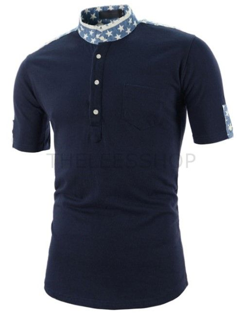 (CZ66-NAVY) Mens Slim Fit China Collar Henley Neck Star Patched Short Sleeve Tshirts